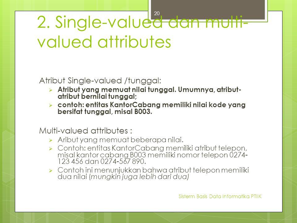 2. Single-valued dan multi- valued attributes Atribut Single-valued /tunggal:  Atribut yang memuat nilai tunggal. Umumnya, atribut- atribut bernilai
