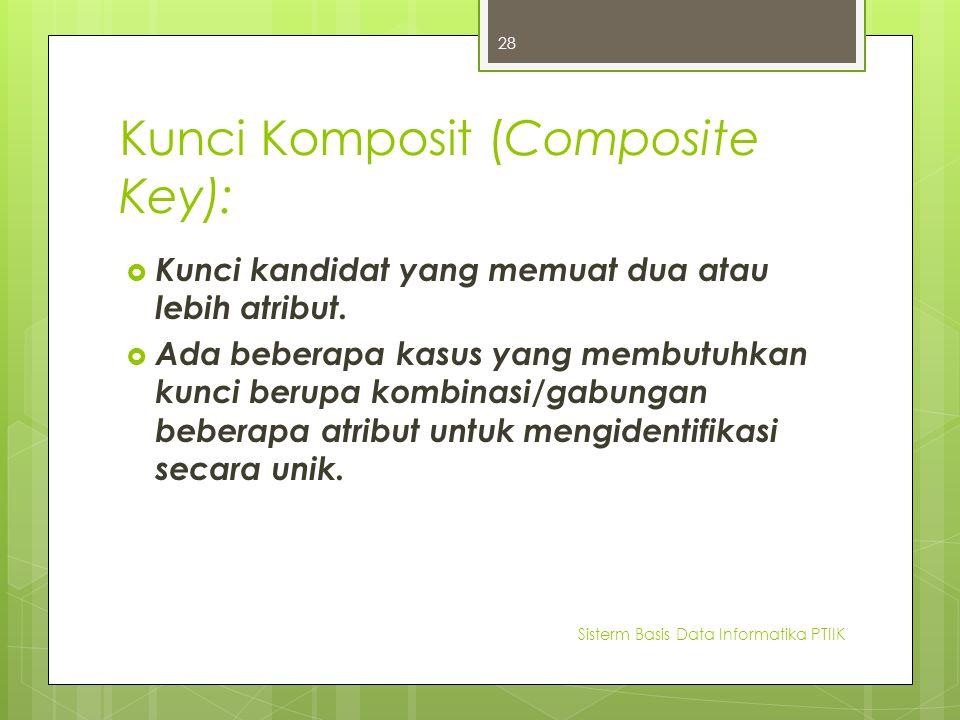 Kunci Komposit (Composite Key):  Kunci kandidat yang memuat dua atau lebih atribut.  Ada beberapa kasus yang membutuhkan kunci berupa kombinasi/gabu