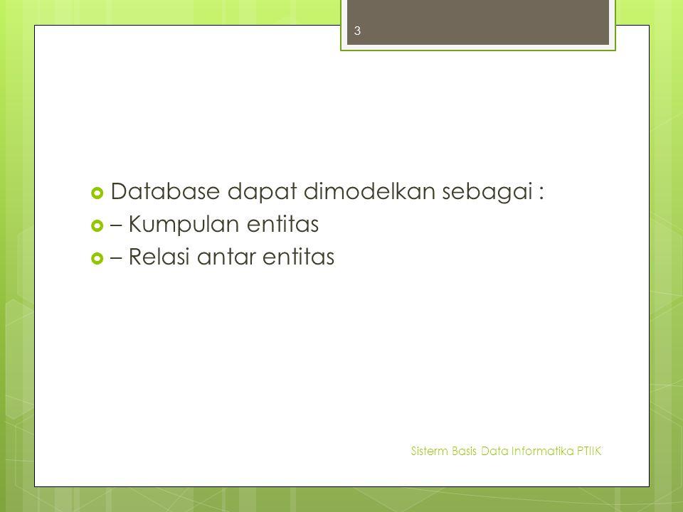  Database dapat dimodelkan sebagai :  – Kumpulan entitas  – Relasi antar entitas Sisterm Basis Data Informatika PTIIK 3