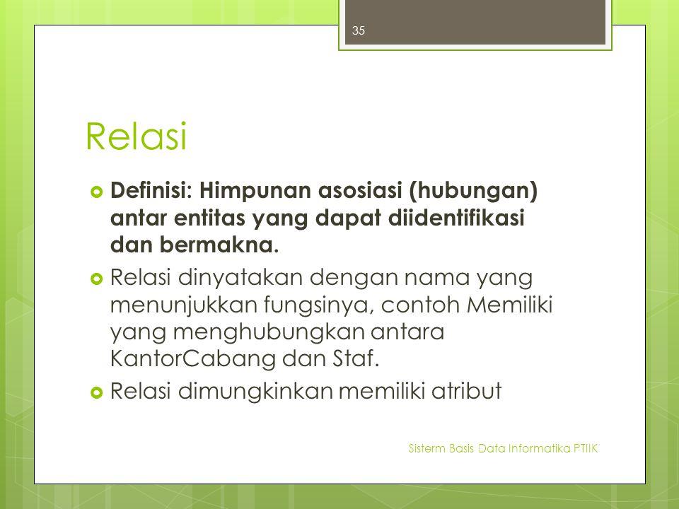 Relasi  Definisi: Himpunan asosiasi (hubungan) antar entitas yang dapat diidentifikasi dan bermakna.  Relasi dinyatakan dengan nama yang menunjukkan