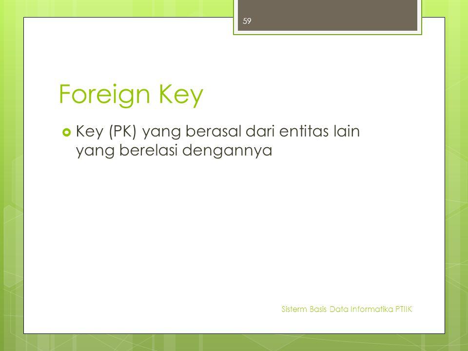 Foreign Key  Key (PK) yang berasal dari entitas lain yang berelasi dengannya Sisterm Basis Data Informatika PTIIK 59