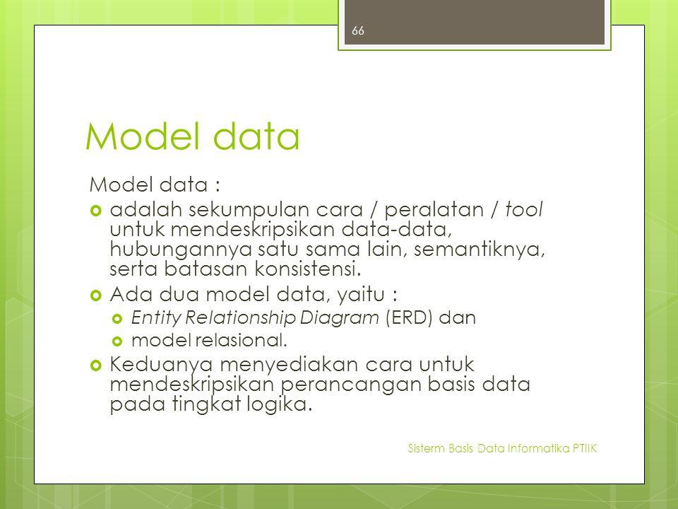 Model data Model data :  adalah sekumpulan cara / peralatan / tool untuk mendeskripsikan data-data, hubungannya satu sama lain, semantiknya, serta ba