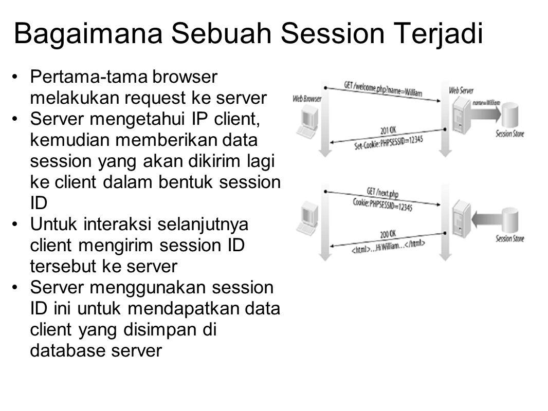 Bagaimana Sebuah Session Terjadi Pertama-tama browser melakukan request ke server Server mengetahui IP client, kemudian memberikan data session yang a