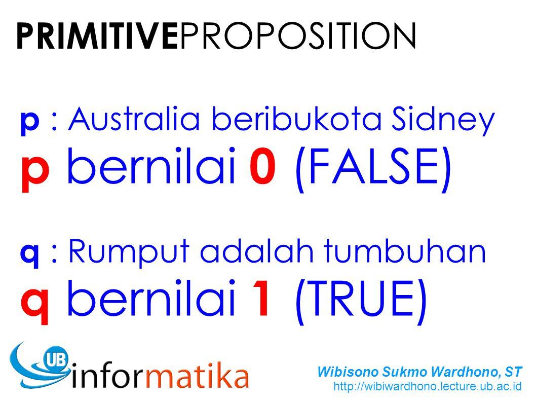 Wibisono Sukmo Wardhono, ST http://wibiwardhono.lecture.ub.ac.id p : Australia beribukota Sidney p bernilai 0 (FALSE) q : Rumput adalah tumbuhan q bernilai 1 (TRUE) PRIMITIVE PROPOSITION
