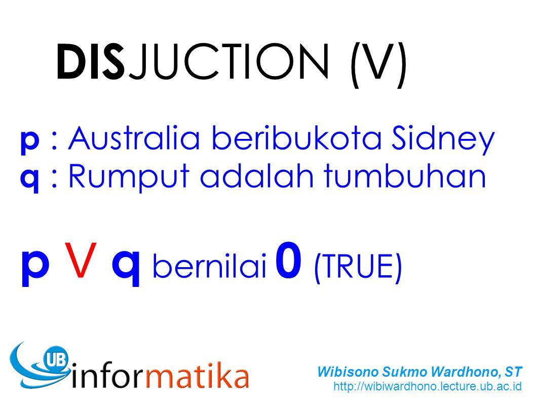 Wibisono Sukmo Wardhono, ST http://wibiwardhono.lecture.ub.ac.id DIS JUCTION ( V ) p : Australia beribukota Sidney q : Rumput adalah tumbuhan p V q bernilai 0 (TRUE)