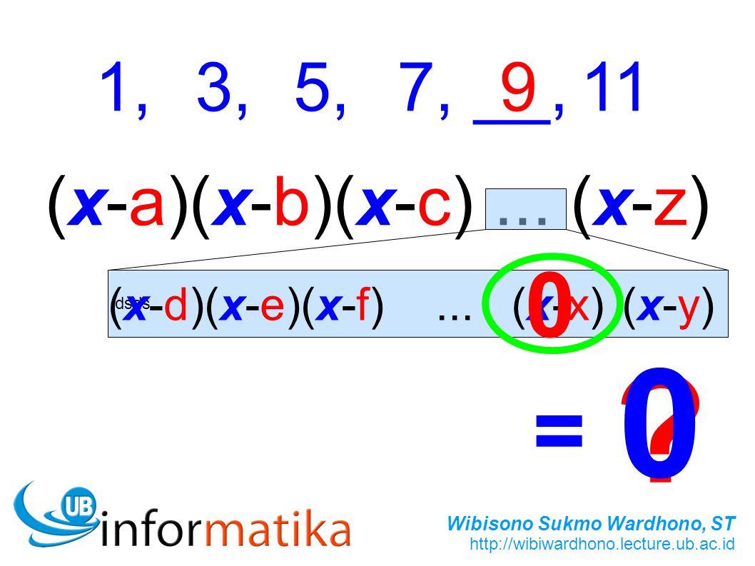 Wibisono Sukmo Wardhono, ST http://wibiwardhono.lecture.ub.ac.id 1,3,5,7,__,119 (x-a)(x-b)(x-c)...