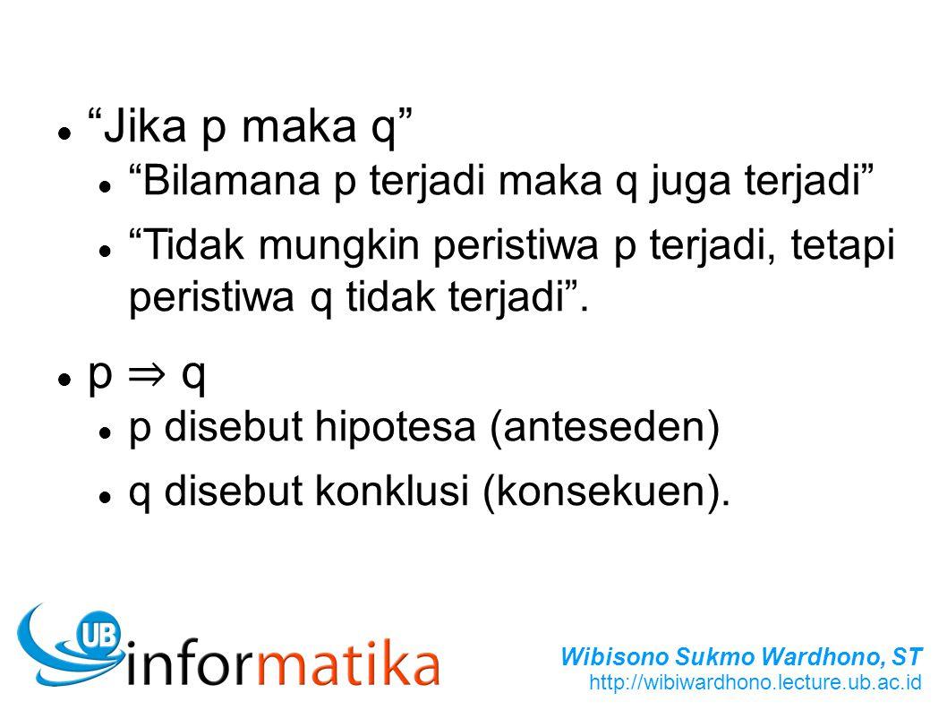 Wibisono Sukmo Wardhono, ST http://wibiwardhono.lecture.ub.ac.id Jika p maka q Bilamana p terjadi maka q juga terjadi Tidak mungkin peristiwa p terjadi, tetapi peristiwa q tidak terjadi .