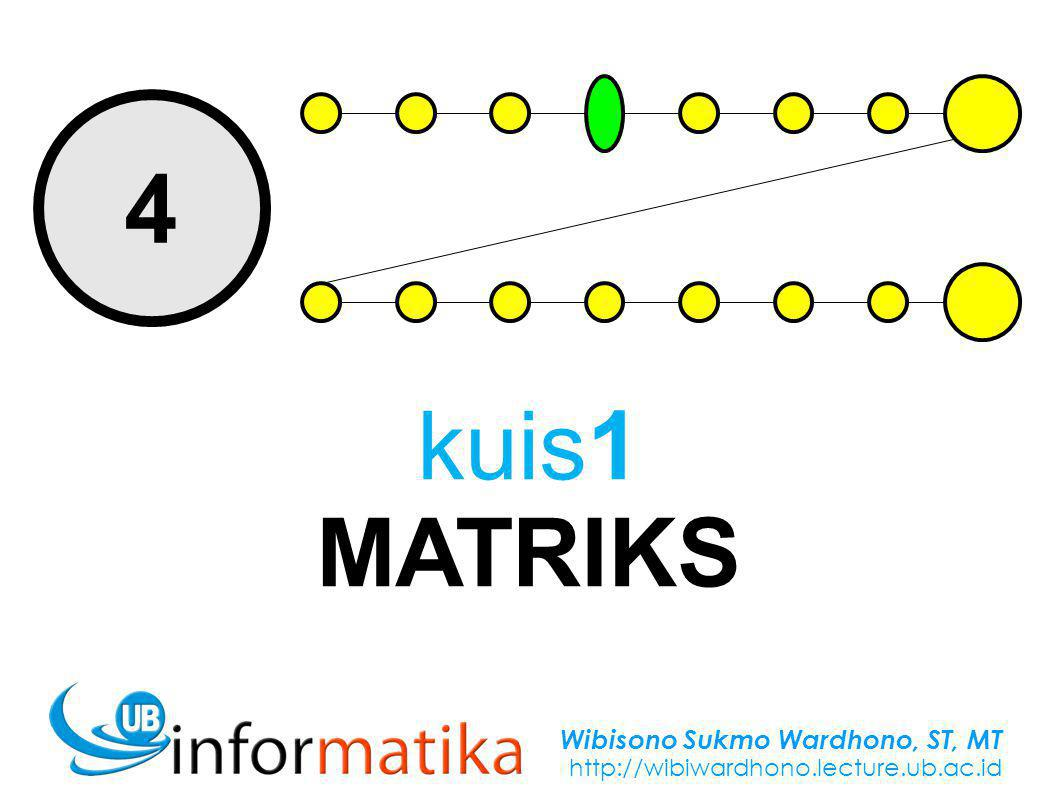 Wibisono Sukmo Wardhono, ST, MT http://wibiwardhono.lecture.ub.ac.id 4 kuis1 MATRIKS