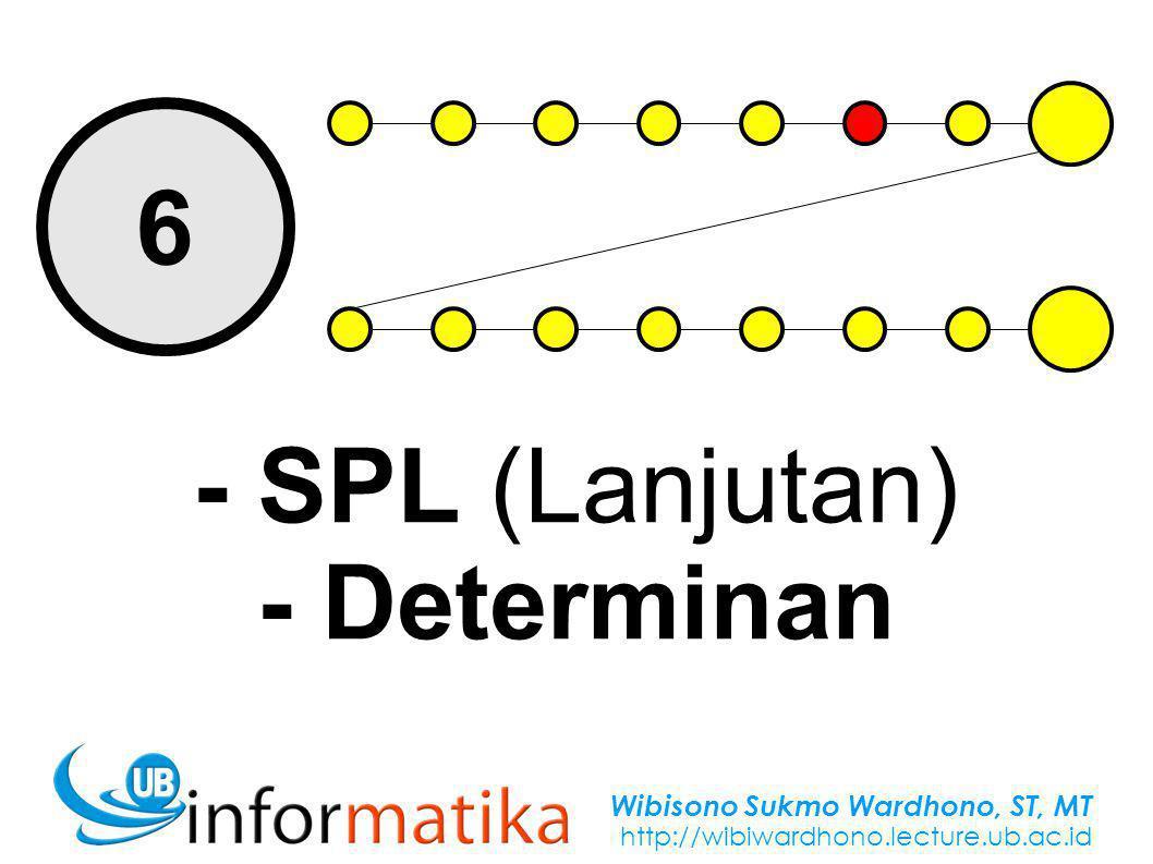Wibisono Sukmo Wardhono, ST, MT http://wibiwardhono.lecture.ub.ac.id 6 - SPL (Lanjutan) - Determinan