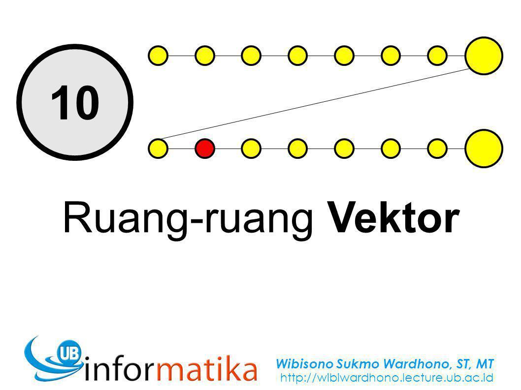 Wibisono Sukmo Wardhono, ST, MT http://wibiwardhono.lecture.ub.ac.id 10 Ruang-ruang Vektor