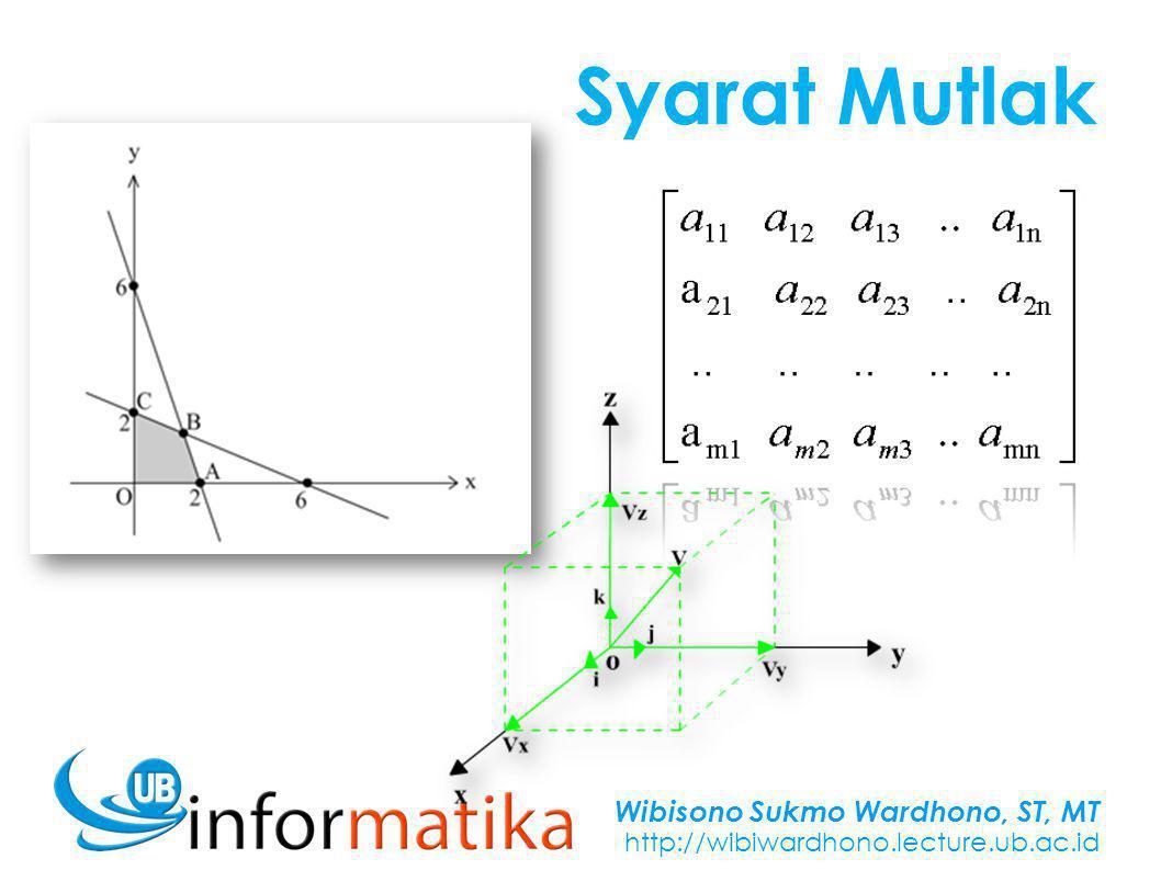 Wibisono Sukmo Wardhono, ST, MT http://wibiwardhono.lecture.ub.ac.id Syarat Mutlak