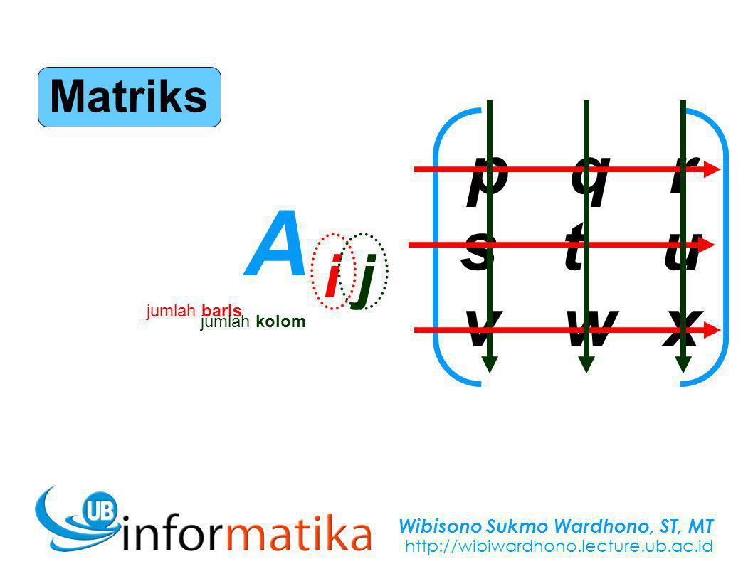 Wibisono Sukmo Wardhono, ST, MT http://wibiwardhono.lecture.ub.ac.id pqrstuvwxpqrstuvwx Matriks A i jA i j jumlah baris jumlah kolom