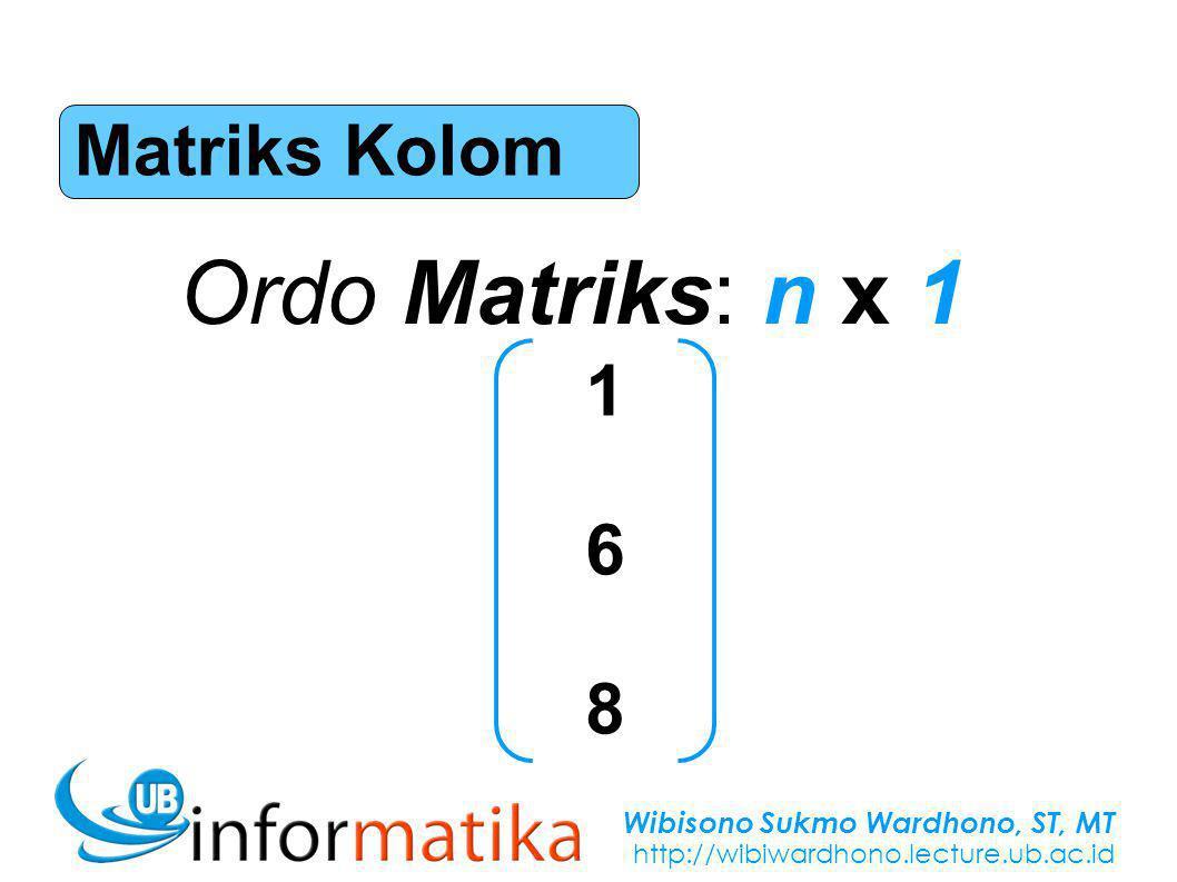 Wibisono Sukmo Wardhono, ST, MT http://wibiwardhono.lecture.ub.ac.id Matriks Kolom Ordo Matriks: n x 1 168168
