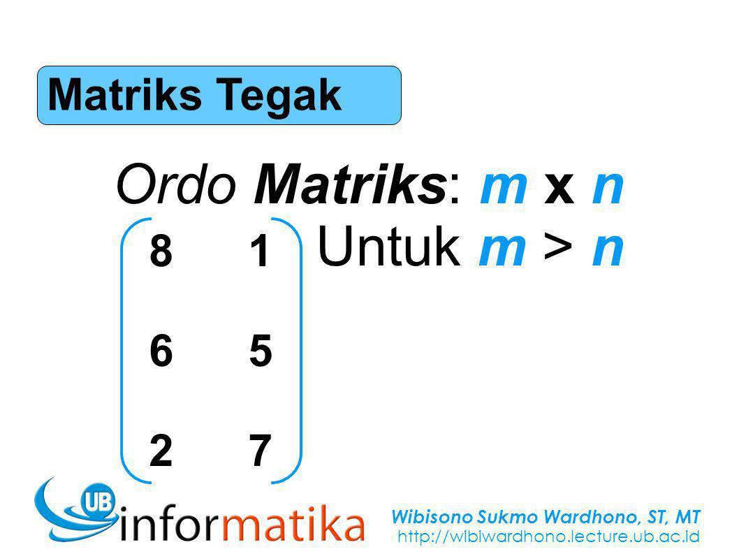 Wibisono Sukmo Wardhono, ST, MT http://wibiwardhono.lecture.ub.ac.id Matriks Tegak Ordo Matriks: m x n Untuk m > n 816527816527