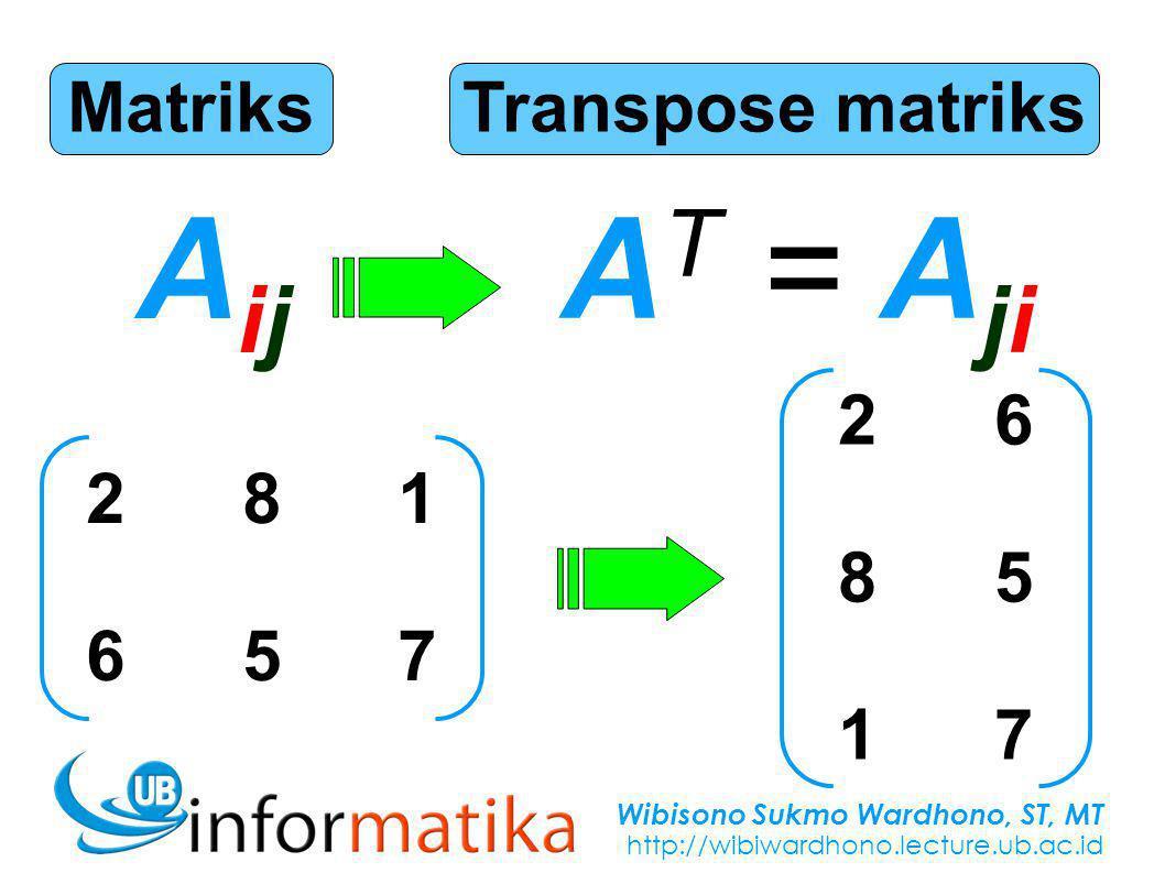 Wibisono Sukmo Wardhono, ST, MT http://wibiwardhono.lecture.ub.ac.id Matriks AijAij Transpose matriks A T = A ji 281657281657 268517268517
