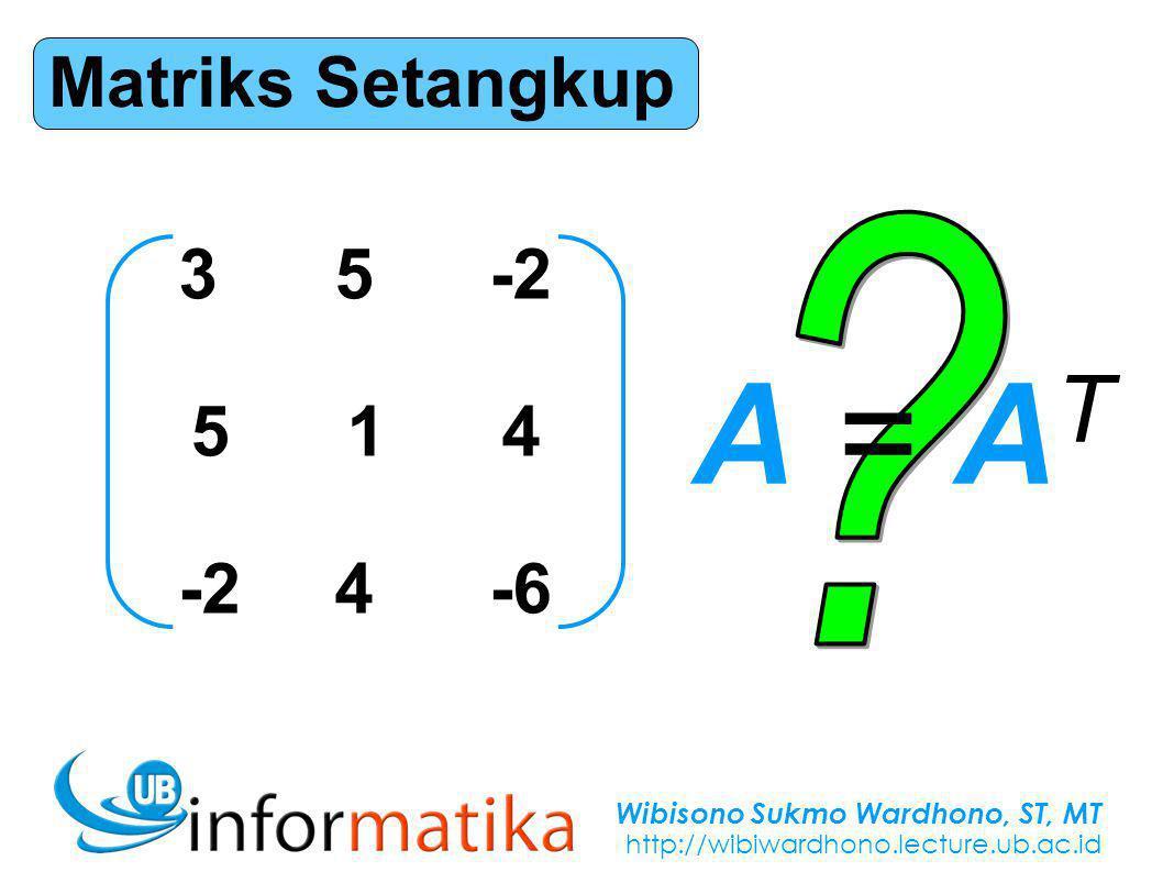 Wibisono Sukmo Wardhono, ST, MT http://wibiwardhono.lecture.ub.ac.id Matriks Setangkup 35-2 514 -24-6 A = ATA = AT