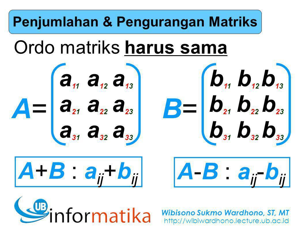Wibisono Sukmo Wardhono, ST, MT http://wibiwardhono.lecture.ub.ac.id Penjumlahan & Pengurangan Matriks A=A= a11a12 a13a21a22 a23a31a32 a33a11a12 a13a21a22 a23a31a32 a33 B=B= b11b12 b13b21b22 b23b31b32 b33b11b12 b13b21b22 b23b31b32 b33 Ordo matriks harus sama A+B : a ij +b ij A-B : a ij -b ij