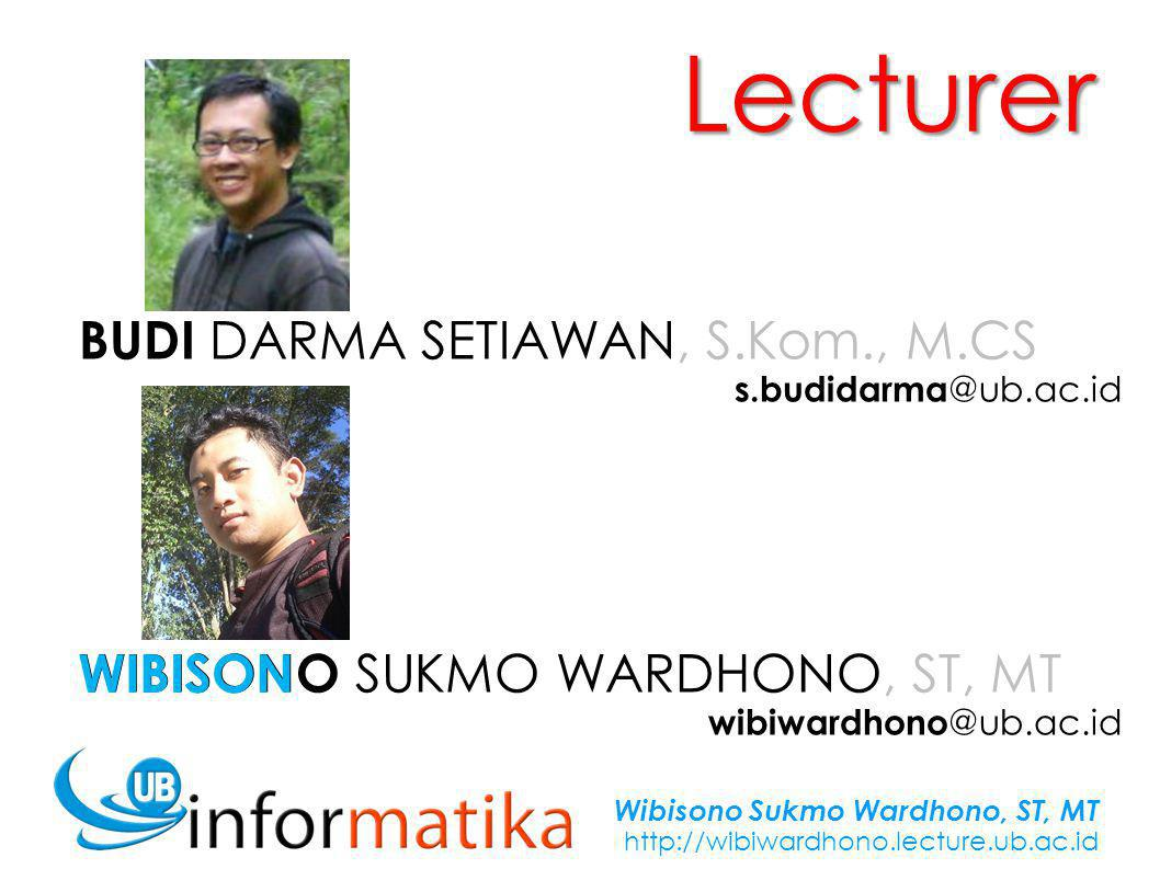 Wibisono Sukmo Wardhono, ST, MT http://wibiwardhono.lecture.ub.ac.id START Read: N A N A > 80 .