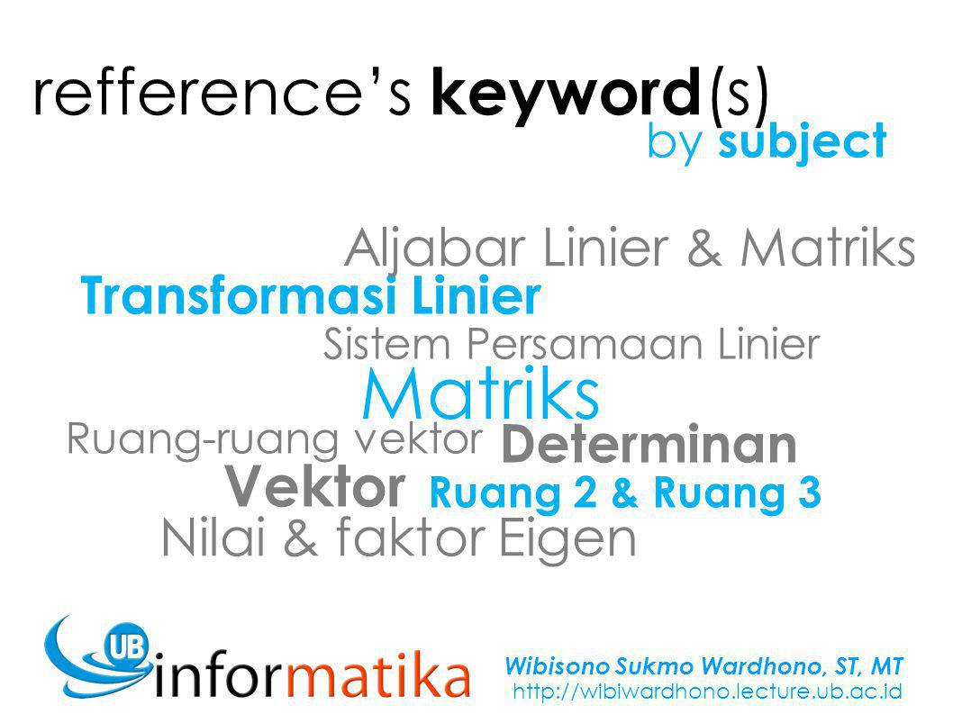 Wibisono Sukmo Wardhono, ST, MT http://wibiwardhono.lecture.ub.ac.id Sekumpulan elemen berupa angka/ simbol yang tersusun dalam baris dan kolom Matriks pqrstuvwxpqrstuvwx
