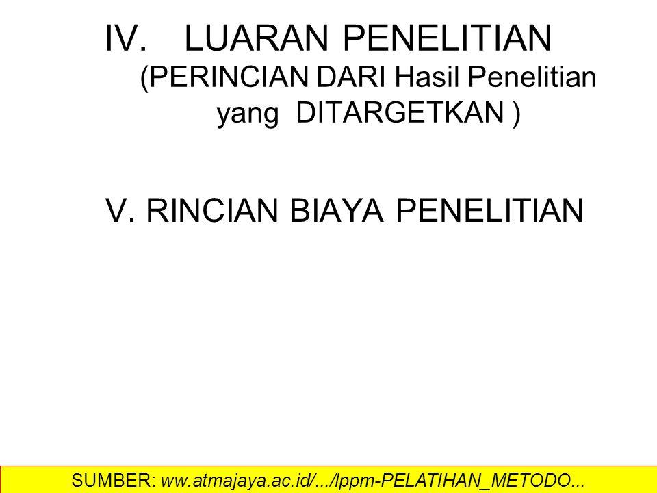 IV.LUARAN PENELITIAN (PERINCIAN DARI Hasil Penelitian yang DITARGETKAN ) V. RINCIAN BIAYA PENELITIAN SUMBER: ww.atmajaya.ac.id/.../lppm-PELATIHAN_METO