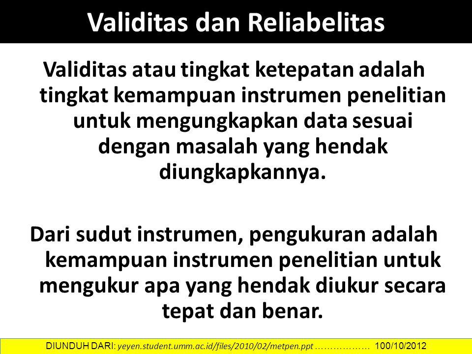 Validitas atau tingkat ketepatan adalah tingkat kemampuan instrumen penelitian untuk mengungkapkan data sesuai dengan masalah yang hendak diungkapkannya.