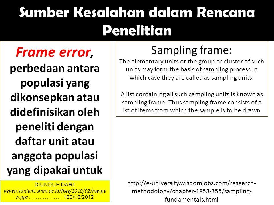Frame error, perbedaan antara populasi yang dikonsepkan atau didefinisikan oleh peneliti dengan daftar unit atau anggota populasi yang dipakai untuk penelitian.