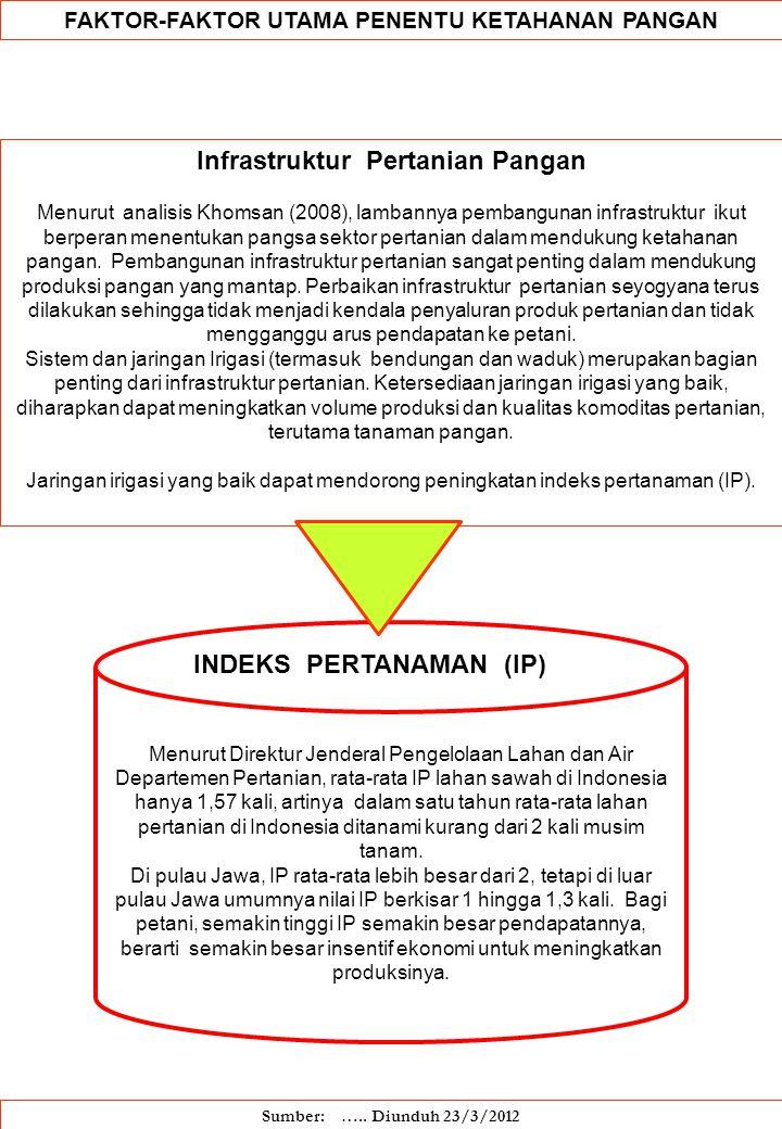 FAKTOR-FAKTOR UTAMA PENENTU KETAHANAN PANGAN Infrastruktur Pertanian Pangan Menurut analisis Khomsan (2008), lambannya pembangunan infrastruktur ikut