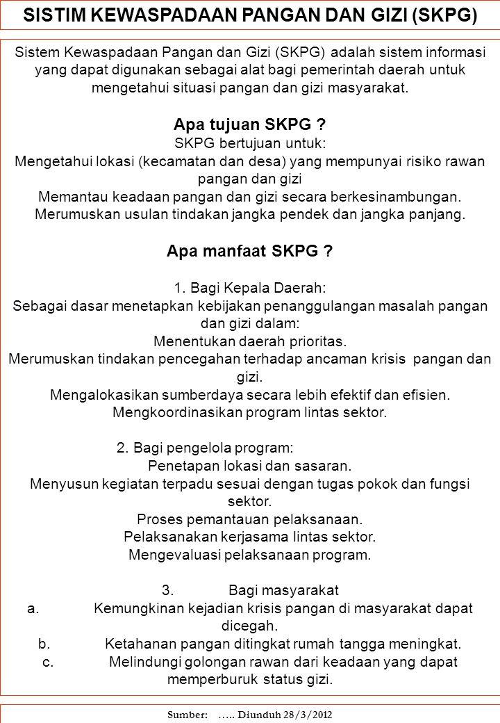 Sistem Kewaspadaan Pangan dan Gizi (SKPG) adalah sistem informasi yang dapat digunakan sebagai alat bagi pemerintah daerah untuk mengetahui situasi pa