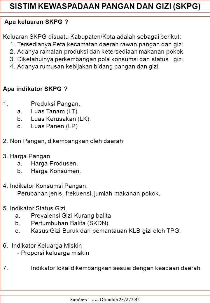 Apa keluaran SKPG ? Keluaran SKPG disuatu Kabupaten/Kota adalah sebagai berikut: 1.Tersedianya Peta kecamatan daerah rawan pangan dan gizi. 2.Adanya r