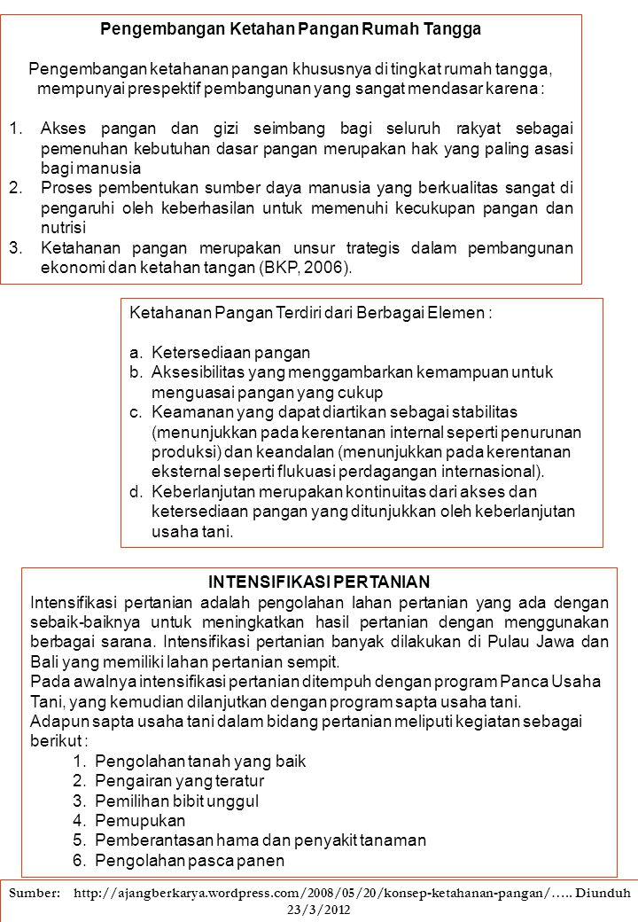Indikator Daerah Rawan Pangan: Aspek Ketersediaan