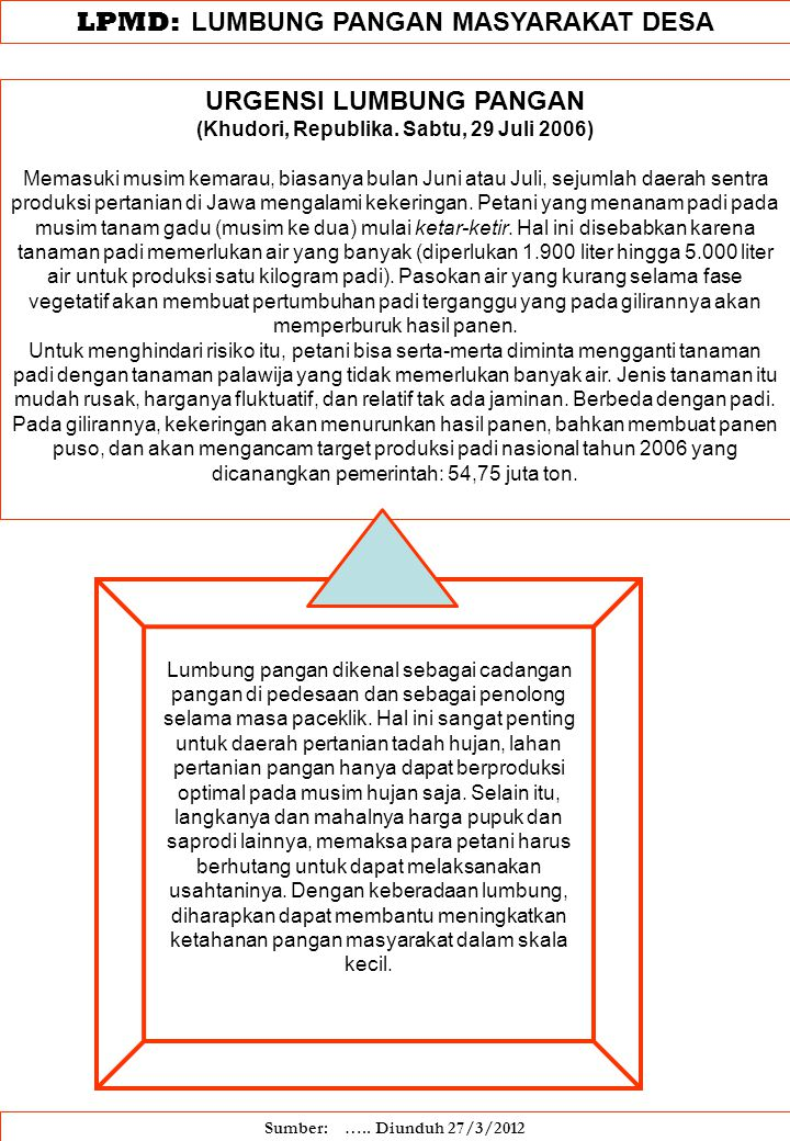 LPMD: LUMBUNG PANGAN MASYARAKAT DESA URGENSI LUMBUNG PANGAN (Khudori, Republika. Sabtu, 29 Juli 2006) Memasuki musim kemarau, biasanya bulan Juni atau