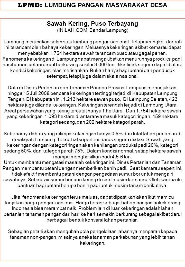 LPMD: LUMBUNG PANGAN MASYARAKAT DESA Sawah Kering, Puso Terbayang (INILAH.COM, Bandar Lampung) Lampung merupakan salah satu lumbung pangan nasional. T