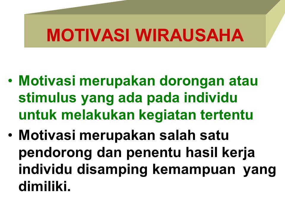 MOTIVASI WIRAUSAHA Motivasi merupakan dorongan atau stimulus yang ada pada individu untuk melakukan kegiatan tertentu Motivasi merupakan salah satu pe