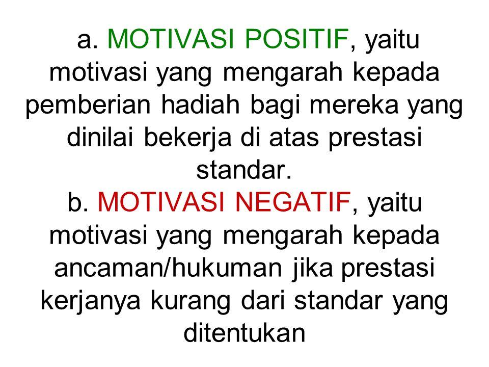 a. MOTIVASI POSITIF, yaitu motivasi yang mengarah kepada pemberian hadiah bagi mereka yang dinilai bekerja di atas prestasi standar. b. MOTIVASI NEGAT