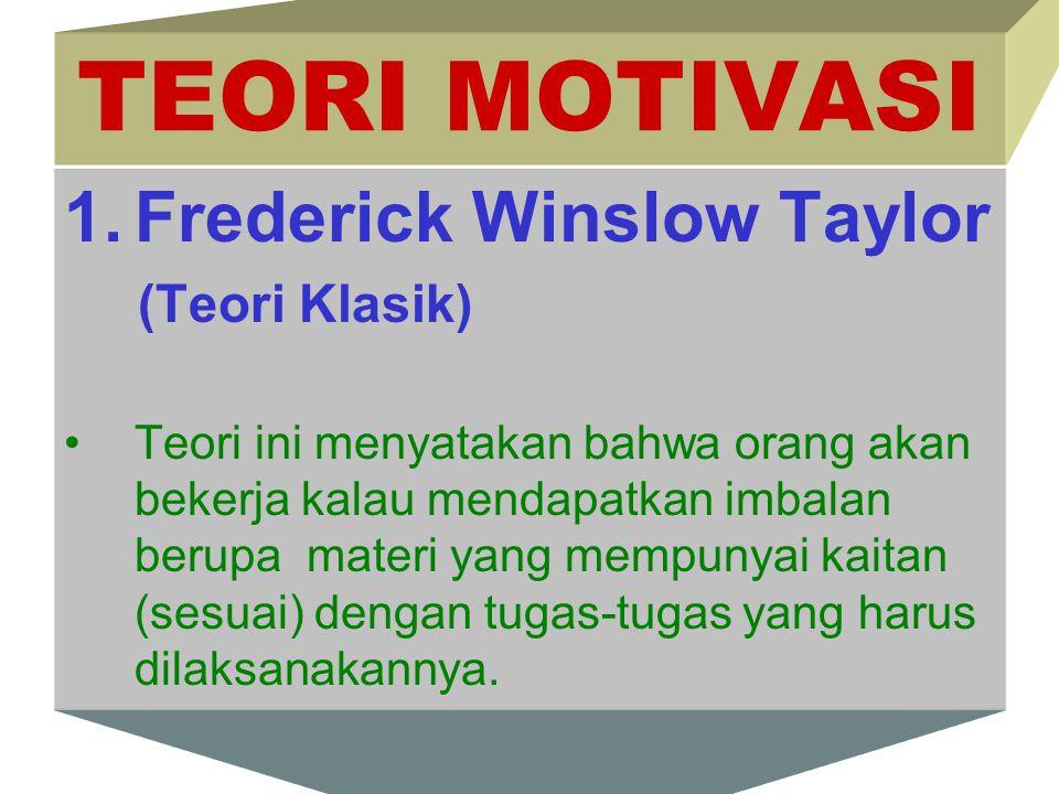 TEORI MOTIVASI 1.Frederick Winslow Taylor (Teori Klasik) Teori ini menyatakan bahwa orang akan bekerja kalau mendapatkan imbalan berupa materi yang me