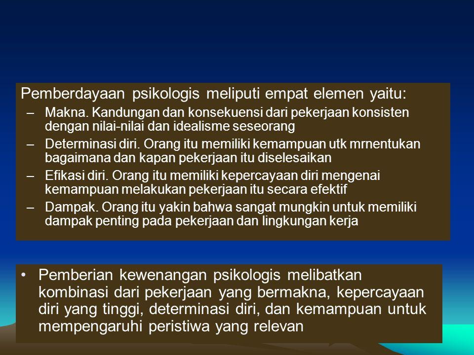 Pemberdayaan psikologis meliputi empat elemen yaitu: –Makna. Kandungan dan konsekuensi dari pekerjaan konsisten dengan nilai-nilai dan idealisme seseo