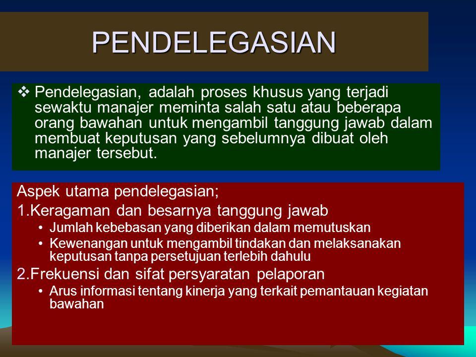 PENDELEGASIAN Aspek utama pendelegasian; 1.Keragaman dan besarnya tanggung jawab Jumlah kebebasan yang diberikan dalam memutuskan Kewenangan untuk men