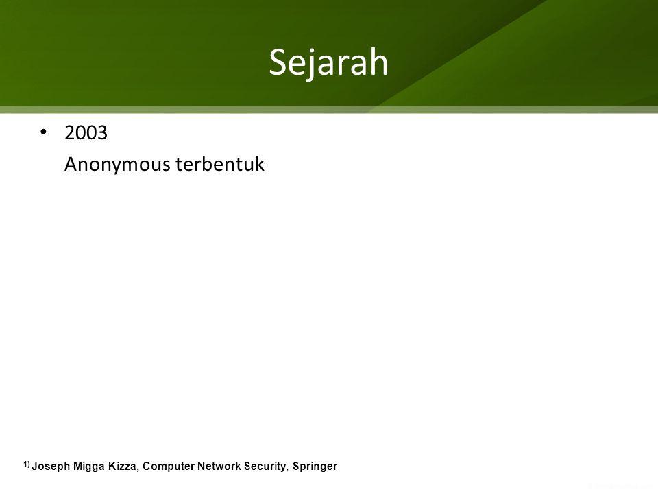 Sejarah 2003 Anonymous terbentuk 1) Joseph Migga Kizza, Computer Network Security, Springer