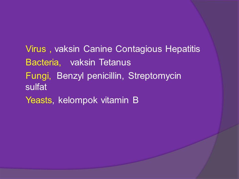 Virus, vaksin Canine Contagious Hepatitis Bacteria, vaksin Tetanus Fungi, Benzyl penicillin, Streptomycin sulfat Yeasts, kelompok vitamin B