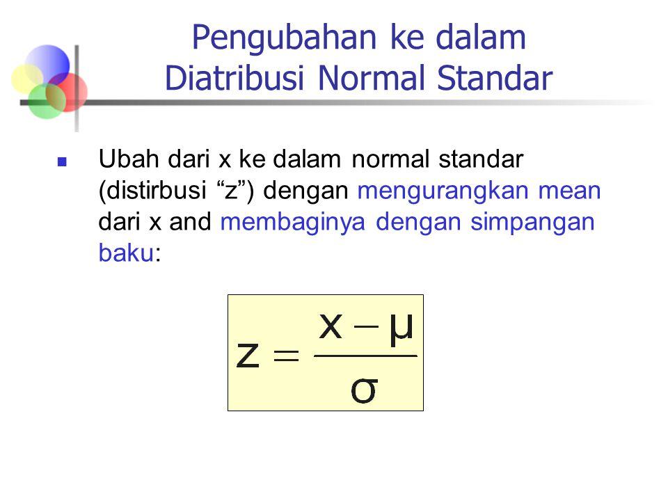 Pengubahan ke dalam Diatribusi Normal Standar Ubah dari x ke dalam normal standar (distirbusi z ) dengan mengurangkan mean dari x and membaginya dengan simpangan baku: