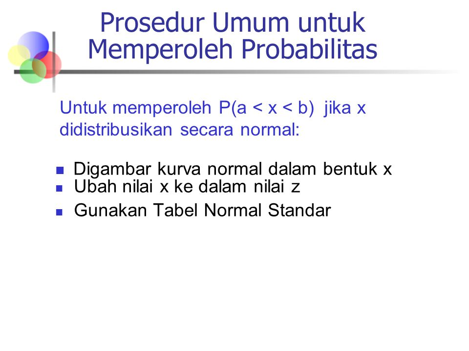 Prosedur Umum untuk Memperoleh Probabilitas Digambar kurva normal dalam bentuk x Ubah nilai x ke dalam nilai z Gunakan Tabel Normal Standar Untuk memperoleh P(a < x < b) jika x didistribusikan secara normal: