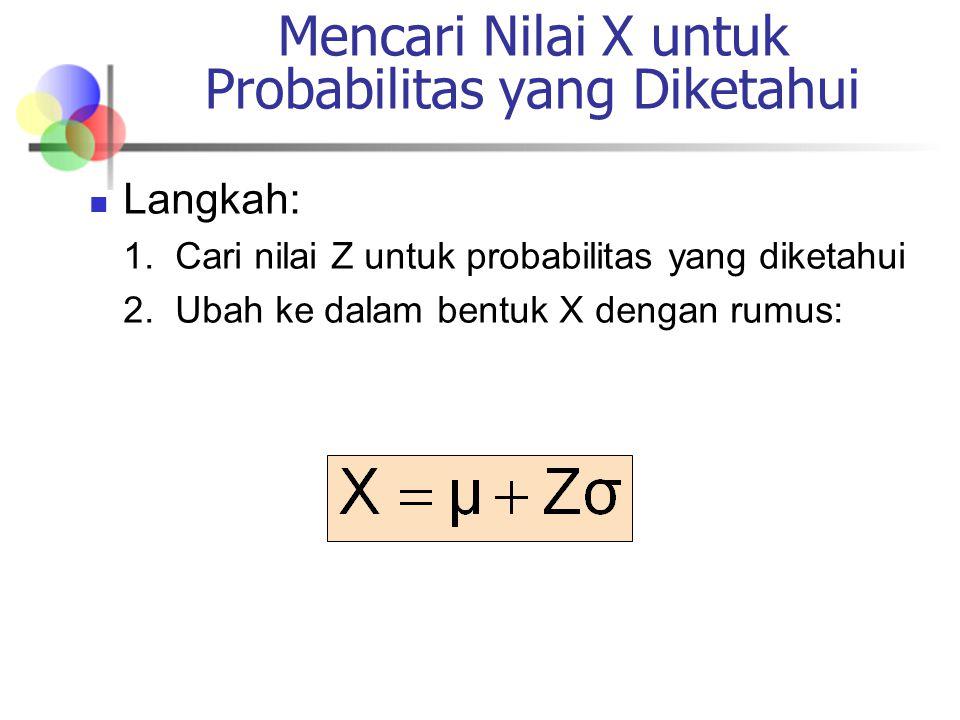 Langkah: 1.Cari nilai Z untuk probabilitas yang diketahui 2.