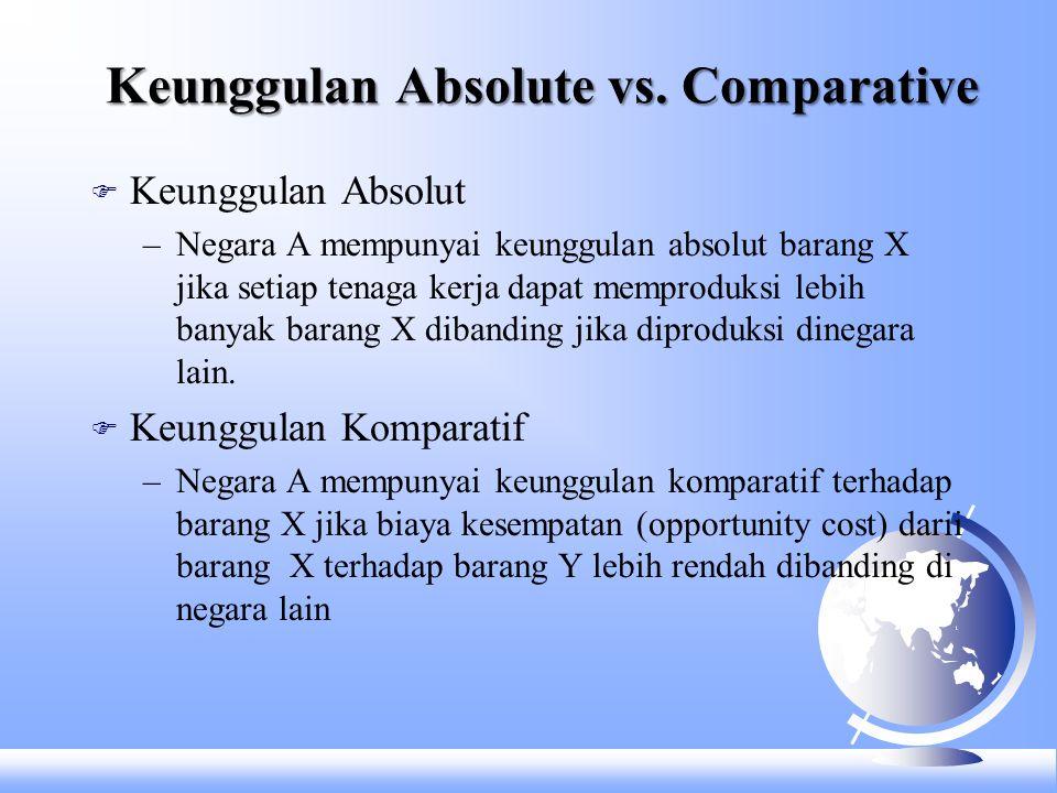 Keunggulan Absolute vs. Comparative F Keunggulan Absolut –Negara A mempunyai keunggulan absolut barang X jika setiap tenaga kerja dapat memproduksi le