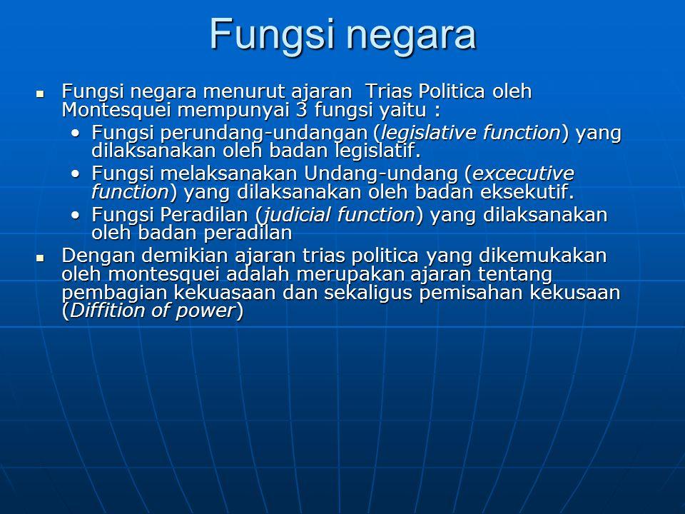 Fungsi negara Fungsi negara menurut ajaran Trias Politica oleh Montesquei mempunyai 3 fungsi yaitu : Fungsi negara menurut ajaran Trias Politica oleh
