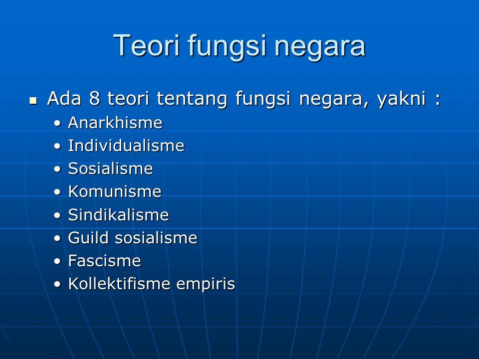 Teori fungsi negara Ada 8 teori tentang fungsi negara, yakni : Ada 8 teori tentang fungsi negara, yakni : AnarkhismeAnarkhisme IndividualismeIndividua