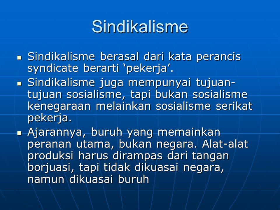Sindikalisme Sindikalisme berasal dari kata perancis syndicate berarti 'pekerja'. Sindikalisme berasal dari kata perancis syndicate berarti 'pekerja'.