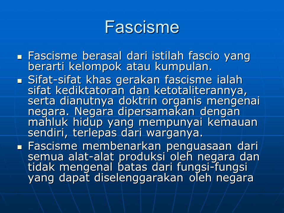 Fascisme Fascisme berasal dari istilah fascio yang berarti kelompok atau kumpulan. Fascisme berasal dari istilah fascio yang berarti kelompok atau kum