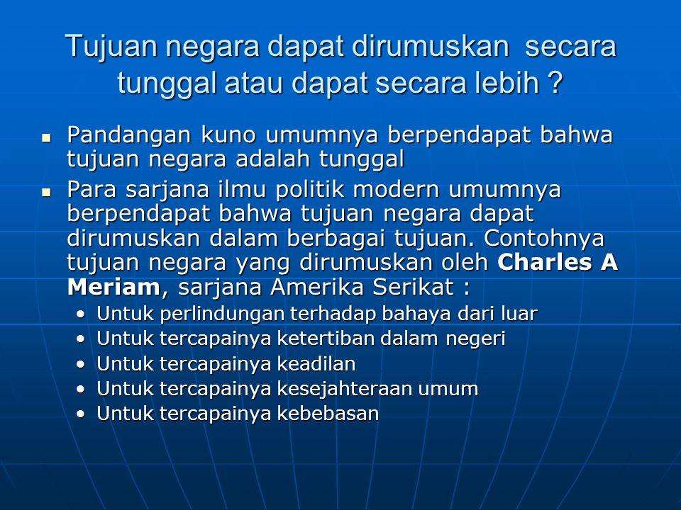 Tujuan negara menurut UUD 1945 Di dalam pembukaan UUD 1945 alinea IV disebutkan : Di dalam pembukaan UUD 1945 alinea IV disebutkan : untuk membentuk suatu pemerintahan Republik Indonesia yang melindungi segenap bangsa Indonesia dan seluruh tumpah darah Indonesia dan untuk memajukan kesejahteraan umum, mencerdaskan kehidupan bangsa, dan ikut melaksanakan ketertiban dunia berdasarkan kemerdekaan, perdamaian abadi, dan keadilan sosial untuk membentuk suatu pemerintahan Republik Indonesia yang melindungi segenap bangsa Indonesia dan seluruh tumpah darah Indonesia dan untuk memajukan kesejahteraan umum, mencerdaskan kehidupan bangsa, dan ikut melaksanakan ketertiban dunia berdasarkan kemerdekaan, perdamaian abadi, dan keadilan sosial