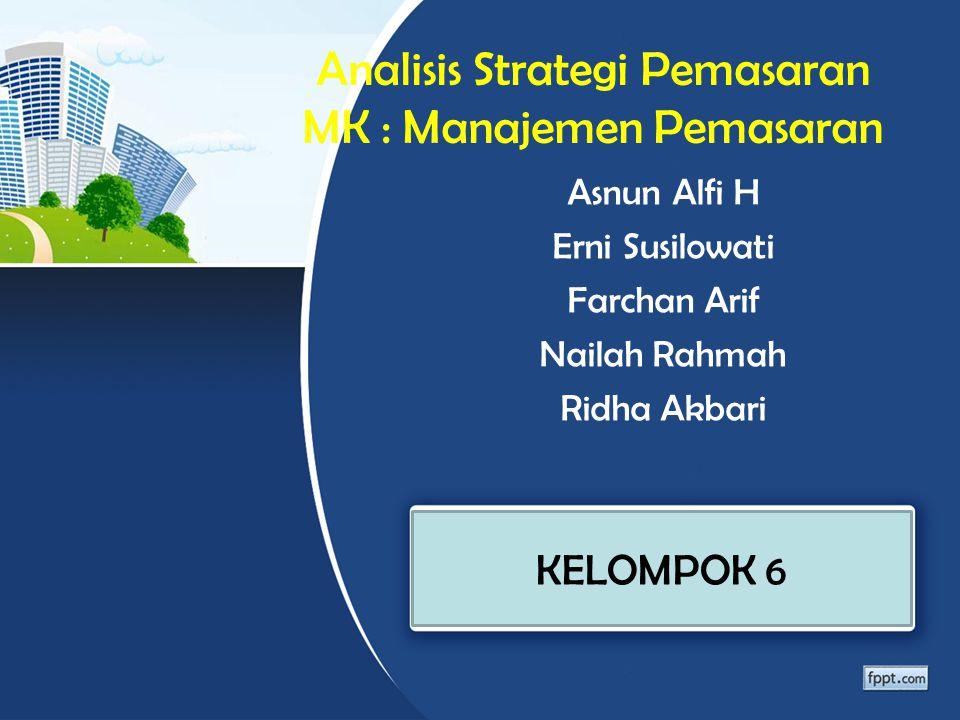 Analisis Strategi Pemasaran MK : Manajemen Pemasaran Asnun Alfi H Erni Susilowati Farchan Arif Nailah Rahmah Ridha Akbari KELOMPOK 6