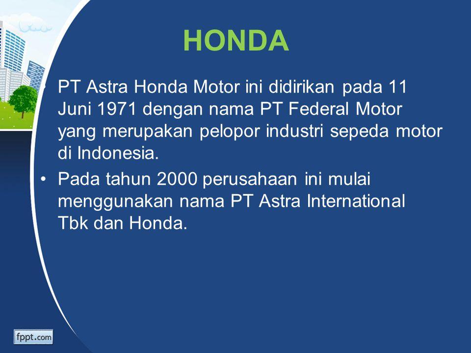 HONDA PT Astra Honda Motor ini didirikan pada 11 Juni 1971 dengan nama PT Federal Motor yang merupakan pelopor industri sepeda motor di Indonesia. Pad